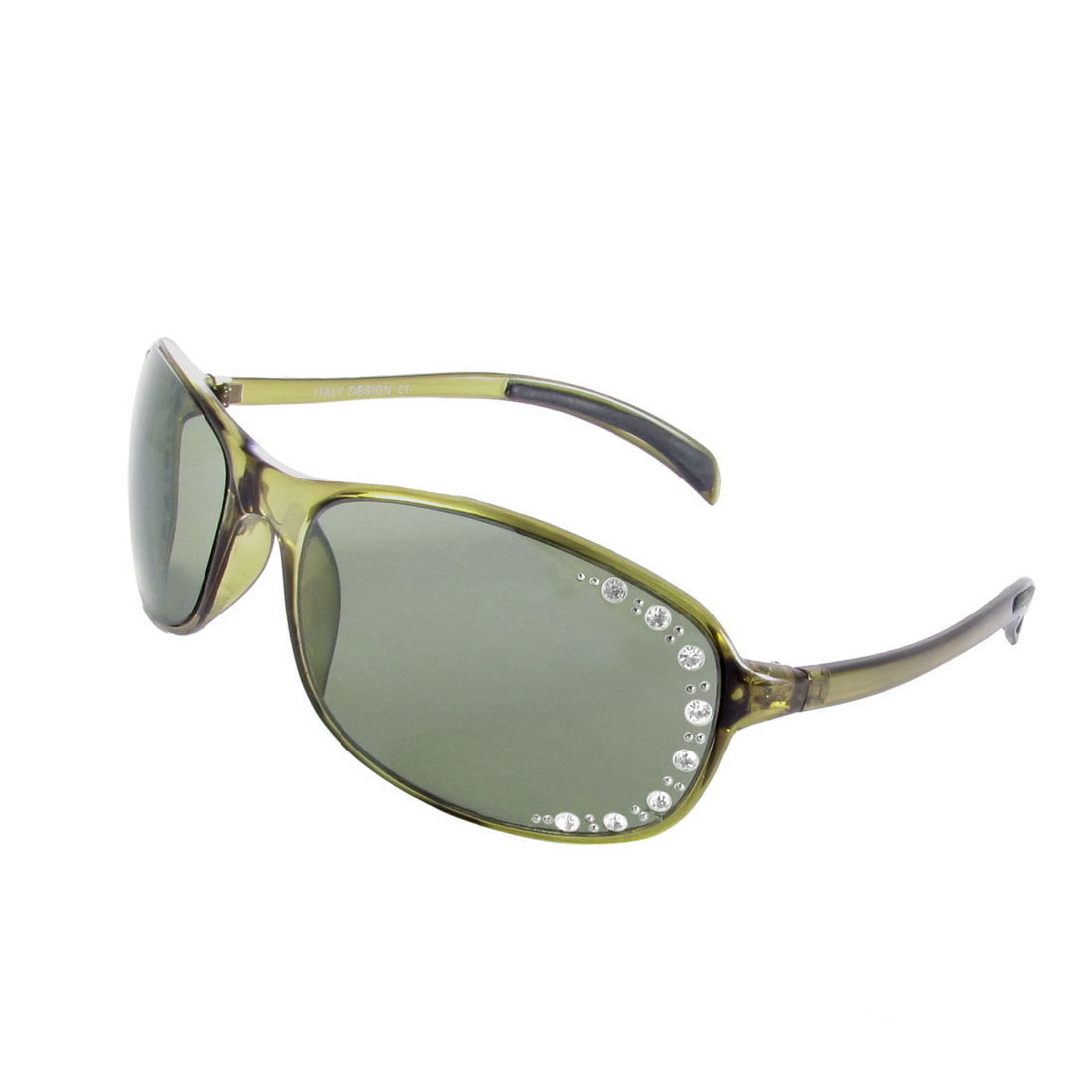 Women Rhinestone Decor Gray Lens Oliver Green Plastic Rimmed Slim Arm Sunglasses