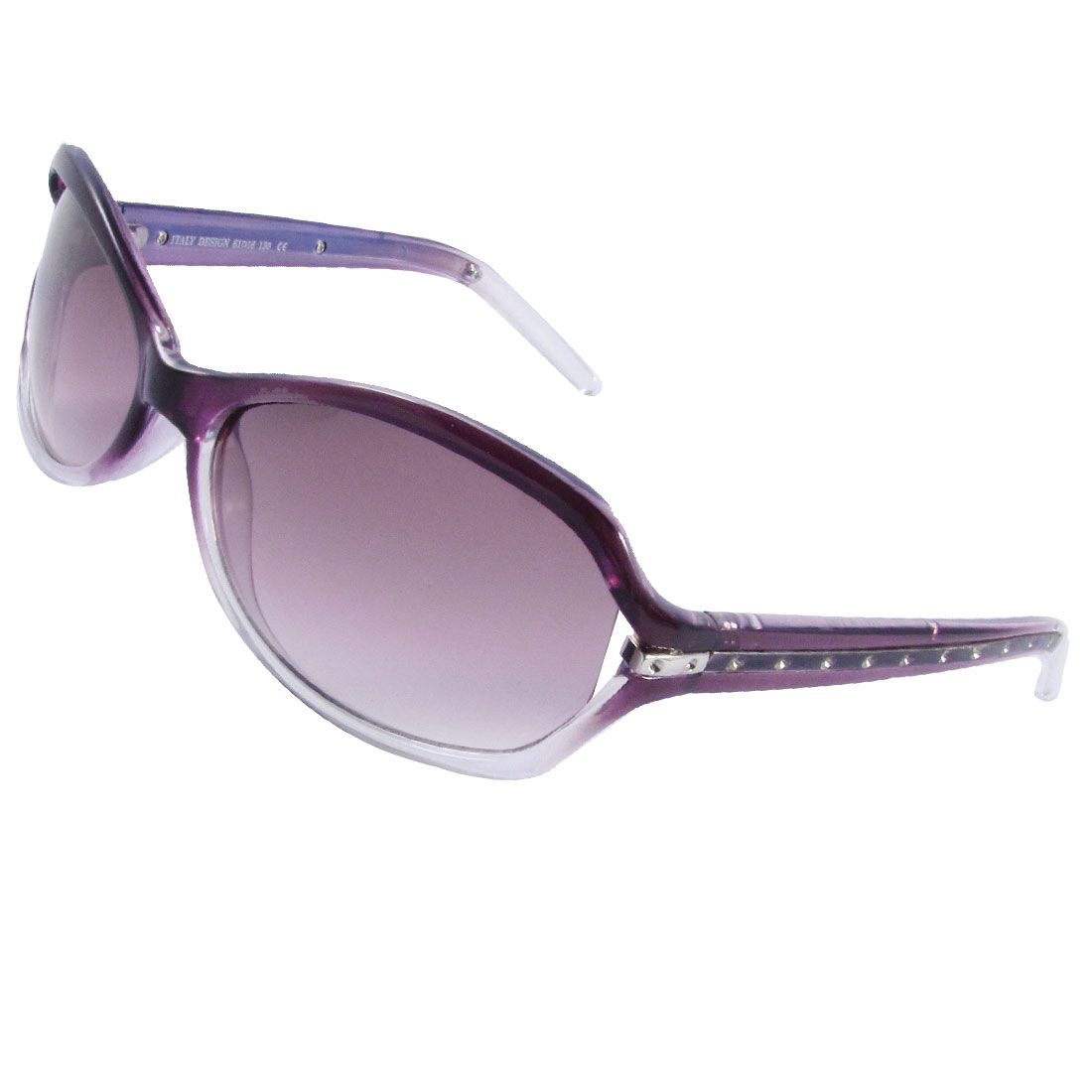 Tinted Lens Purple Clear Rimmed Wide Plastic Metal Arms Sunglasses for Ladies