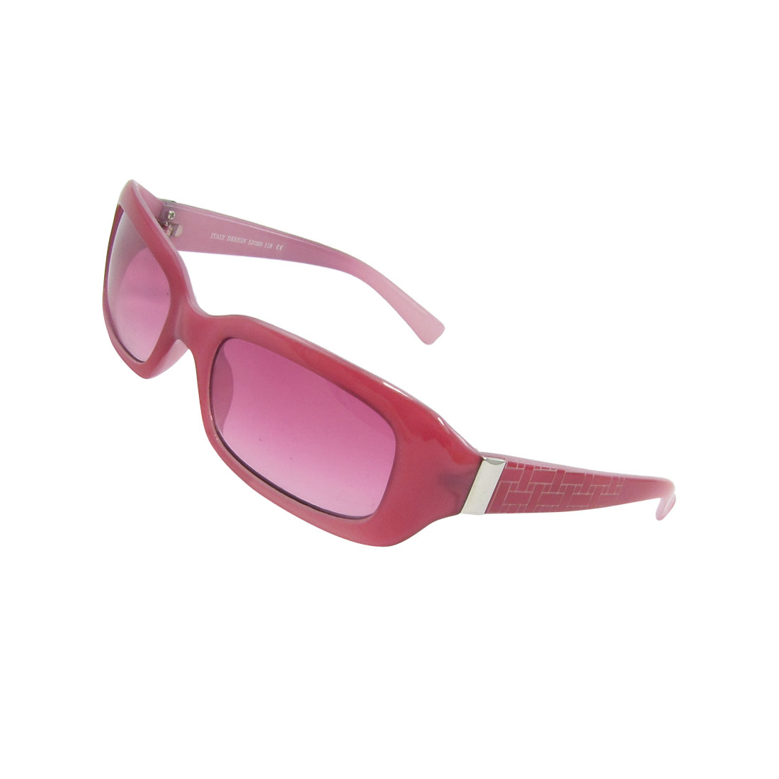 Red Plastic Full Frame Single Bridge Gradient Lens Sunglasses for Ladies