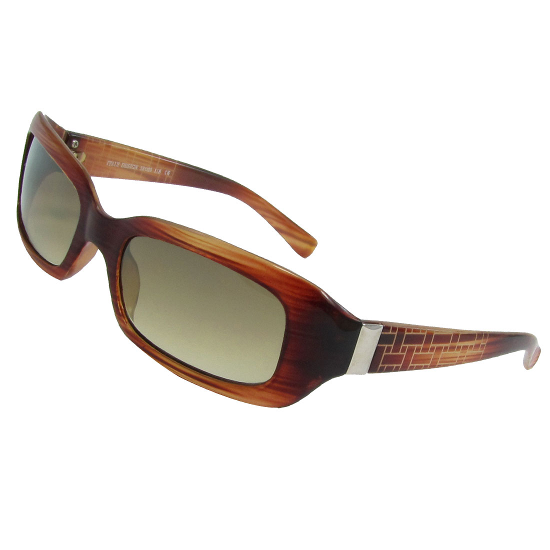 Woman Wall Print Wide Temple Red Wood Color Plastic Rimmed Sunglasses Eyeglasses