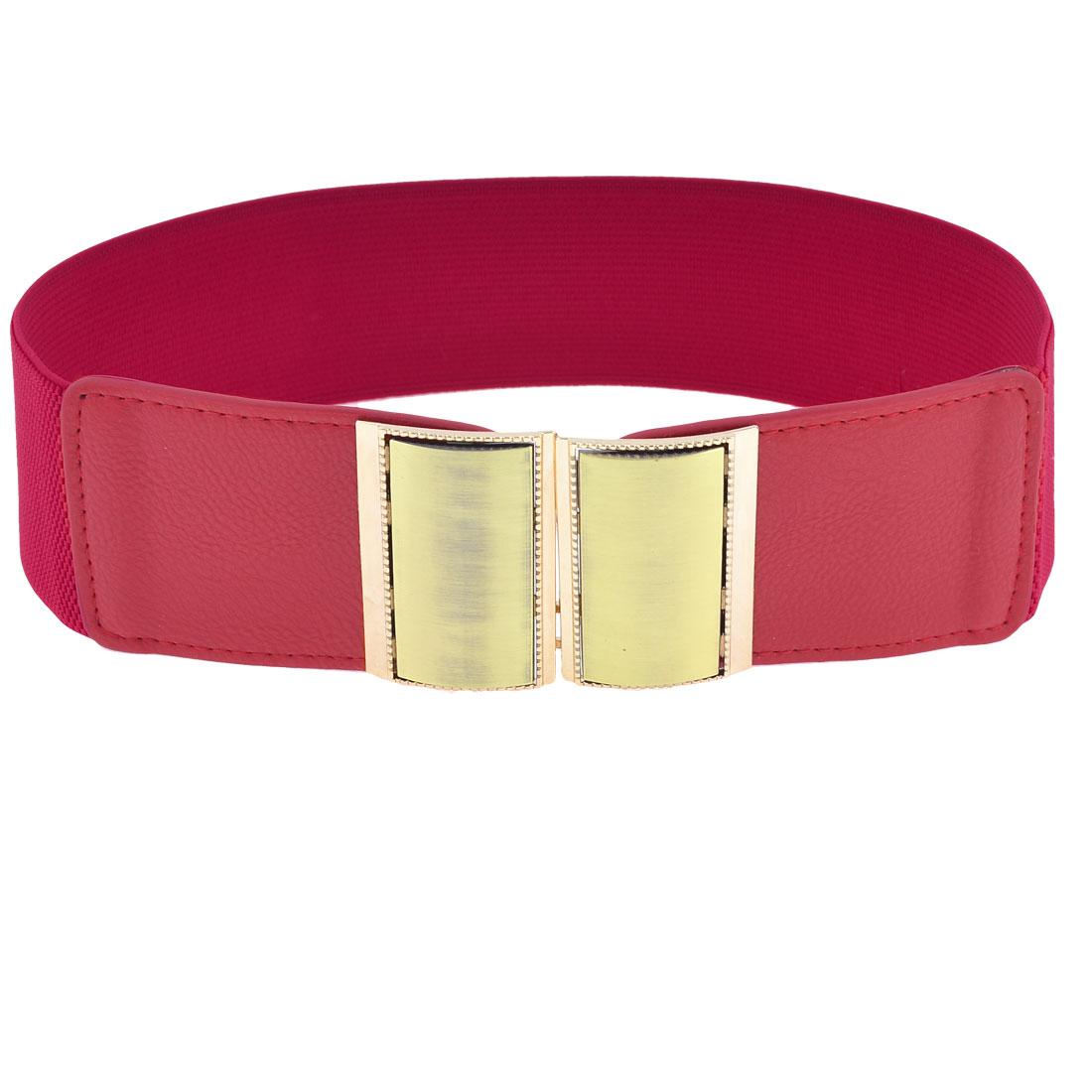 Woman Gold Tone Rectangle Interlocking Buckle Decor Cinch Waist Belt Band Red