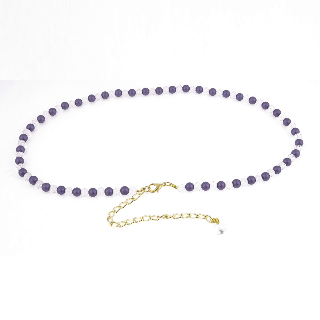 Lobster Clasp Plastic Beads Decoration Adjustable Chain Waist Belt Band Purple