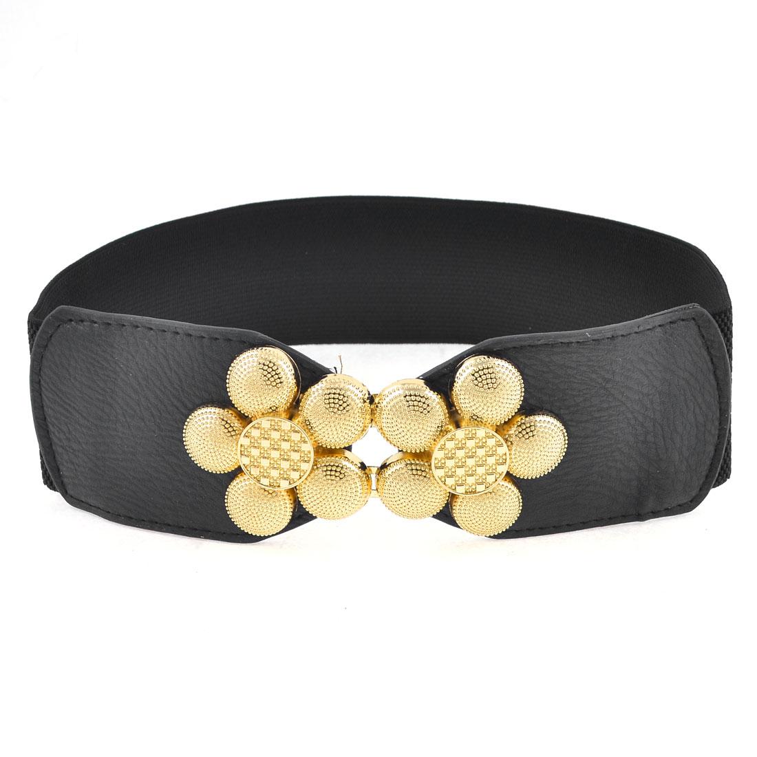 Gold Tone Flower Shaped Interlocking Buckle Faux Leather Elastic Waist Belt Black