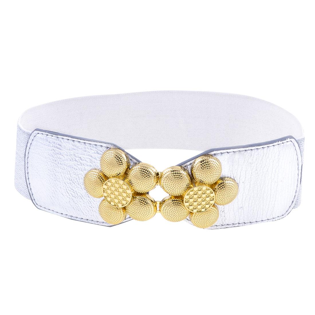 Gold Tone Flower Shaped Interlocking Buckle Silver Tone Elastic Waist Belt