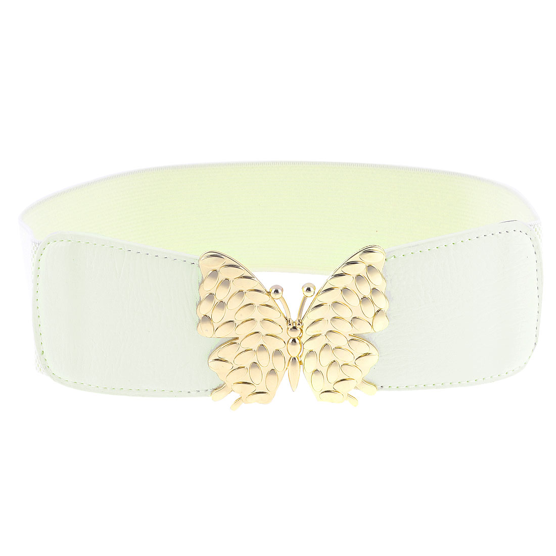 Lady Off White Faux Leather Front Butterfly Interlock Buckle Stretchy Waist Belt