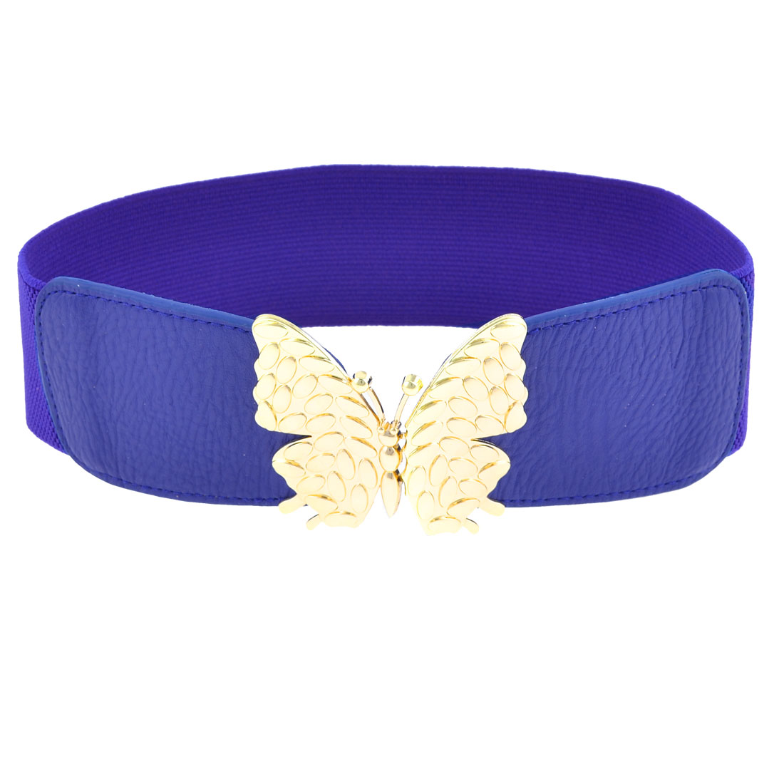 Blue Faux Leather Front Butterfly Interlock Buckle Stretchy Waist Belt for Lady