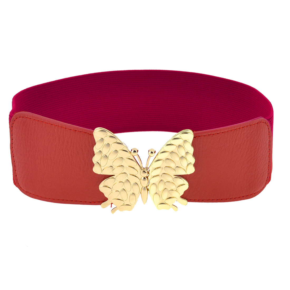 Butterfly Interlocking Buckle 6cm Wide Elastic Waist Belt Band Waistband Red