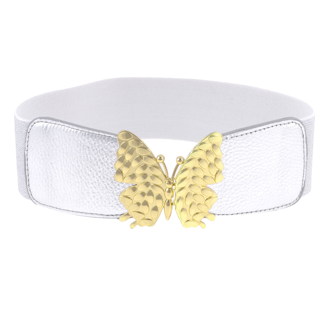 Faux Leather Front Butterfly Interlock Buckle Stretchy Waist Belt Silver Tone