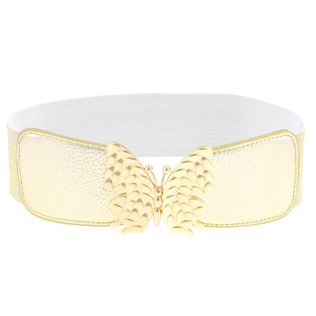 Faux Leather Front Butterfly Interlock Buckle Stretchy Waist Belt Gold Tone