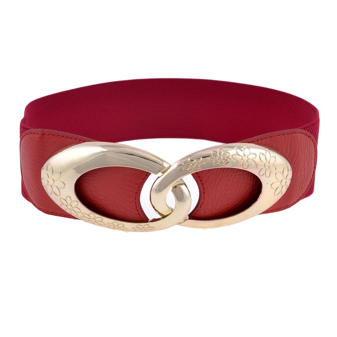 Lady Gold Tone Plastic Interlocking Buckle Red Elastic Waistband Cinch Belt