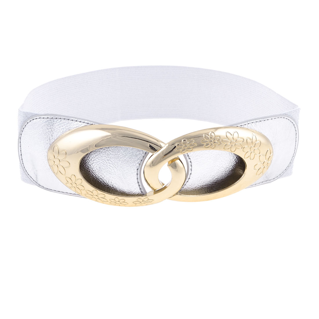 Lady Gold Tone Plastic Interlocking Buckle Black Elastic Waistband Belt Silver Tone