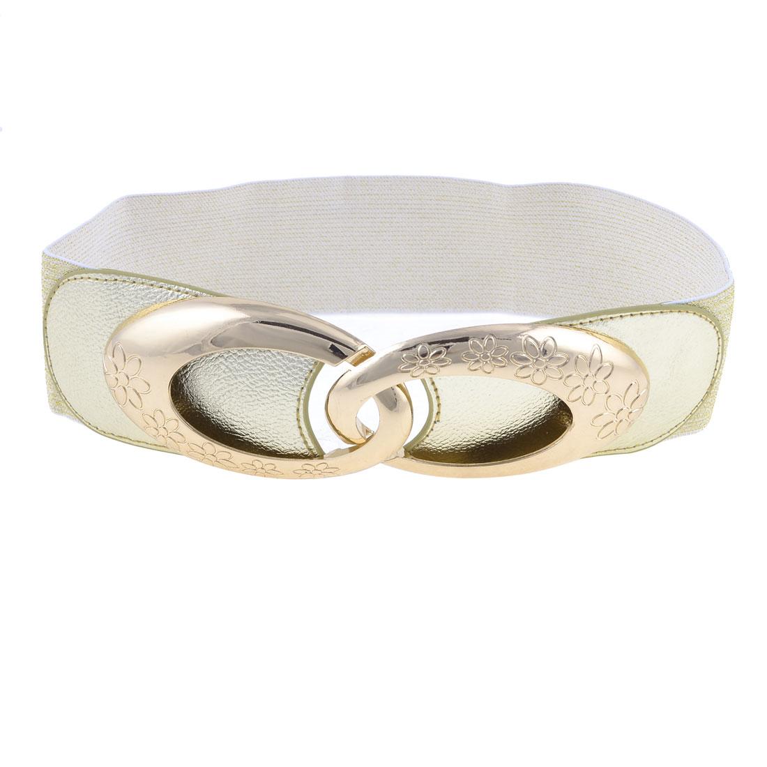 Lady Gold Tone Plastic Interlocking Buckle Elastic Waistband Cinch Belt