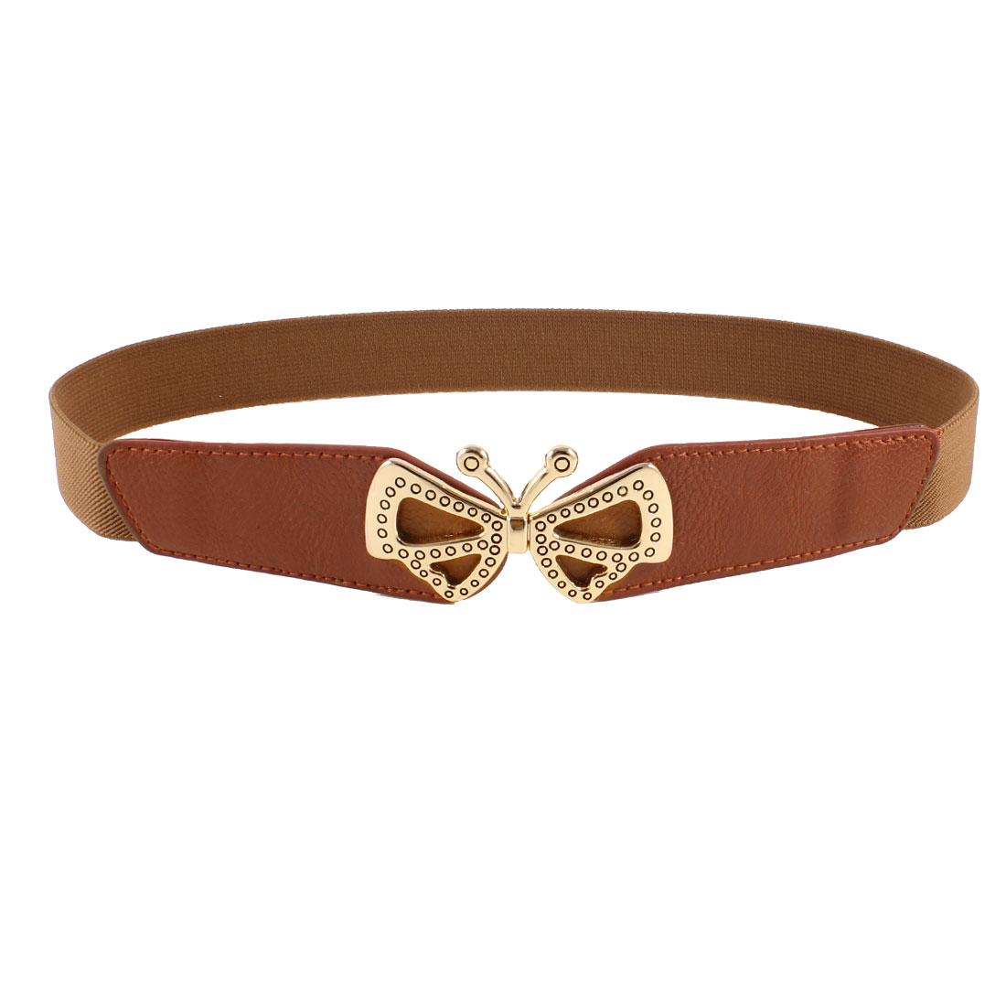 Ladies Butterfly Shaped Metal Interlocking Buckle Stretchy Waist Belt Brown