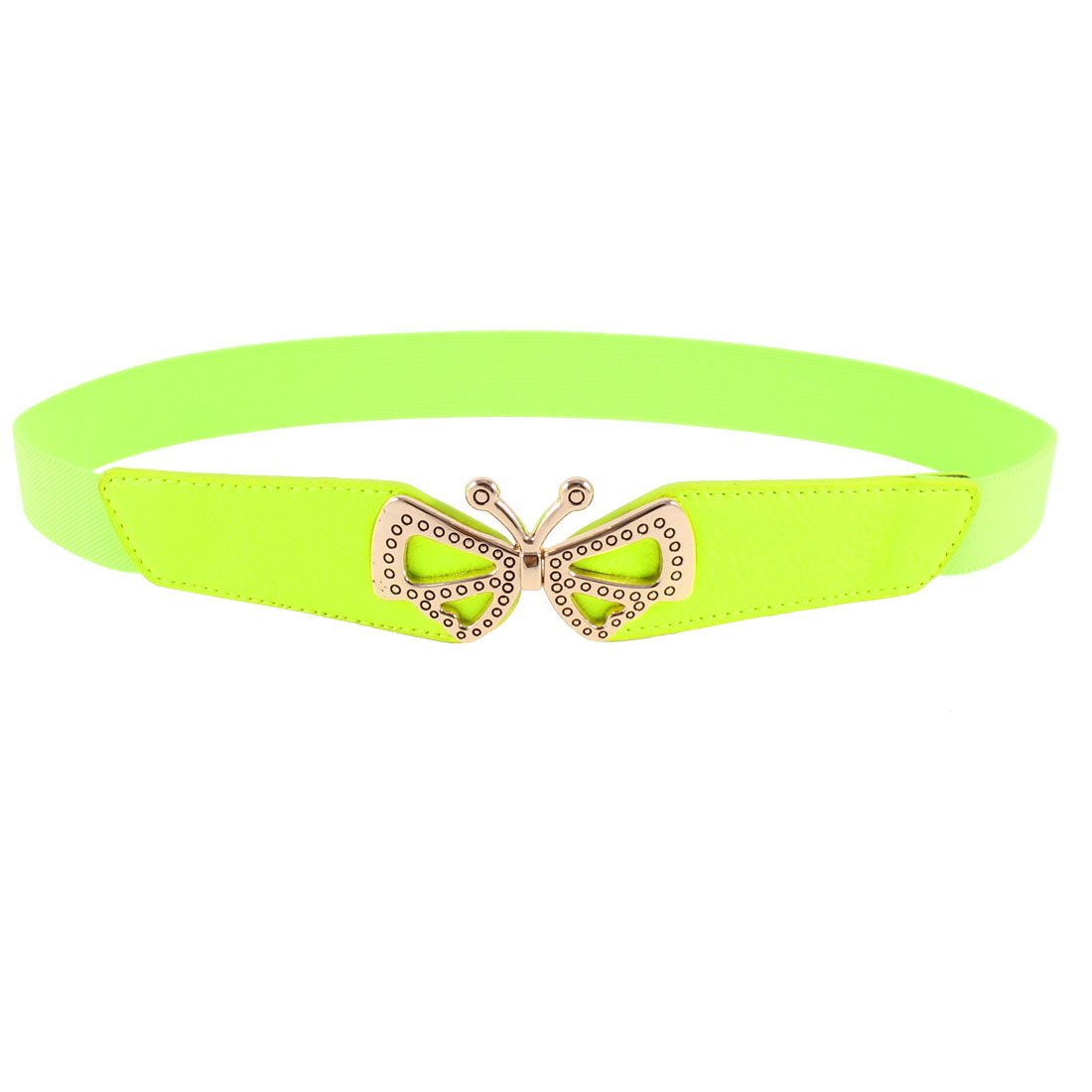 Ladies Butterfly Shaped Metal Interlocking Buckle Stretchy Waist Belt Green