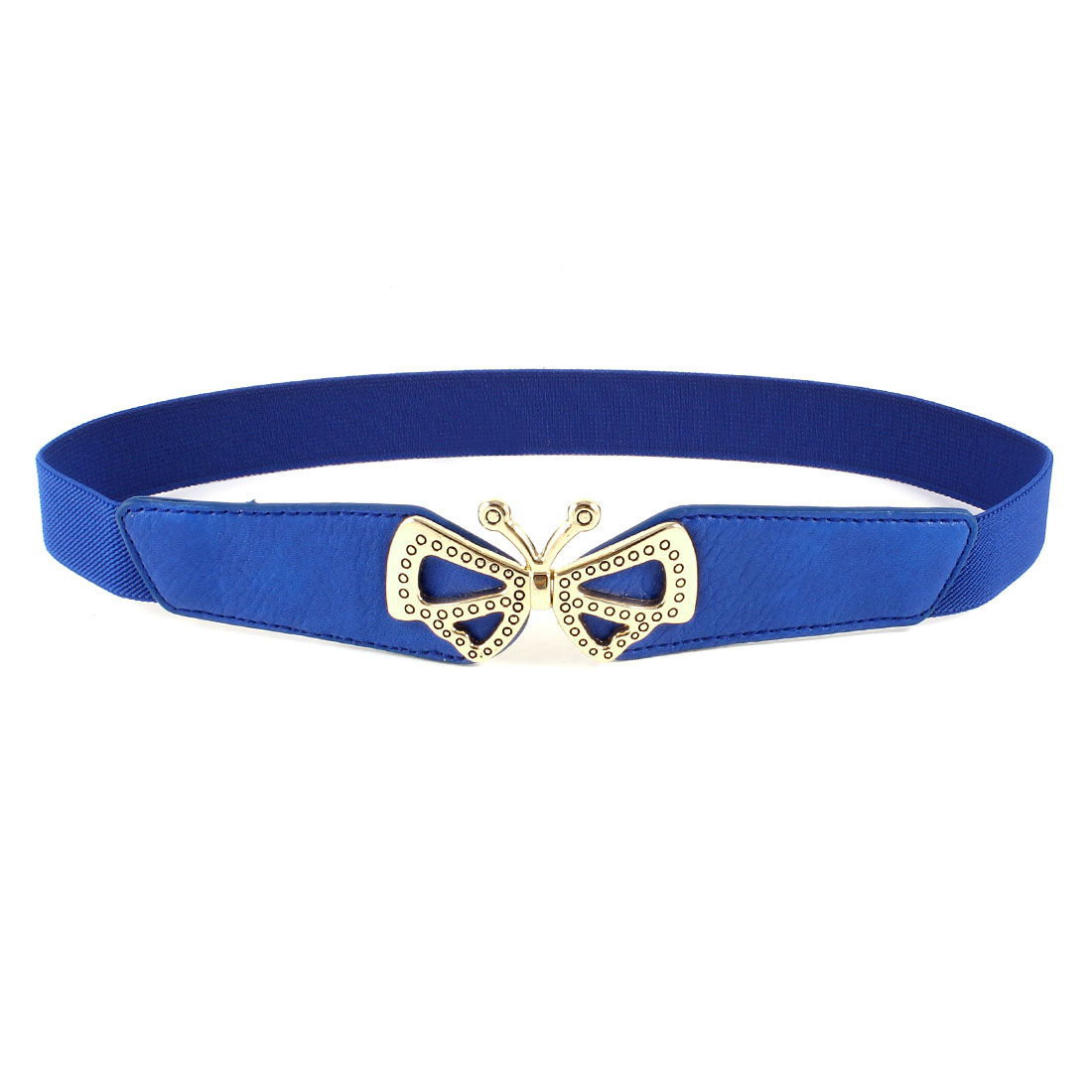 Ladies Butterfly Shaped Metal Interlocking Buckle Stretchy Waist Belt Blue
