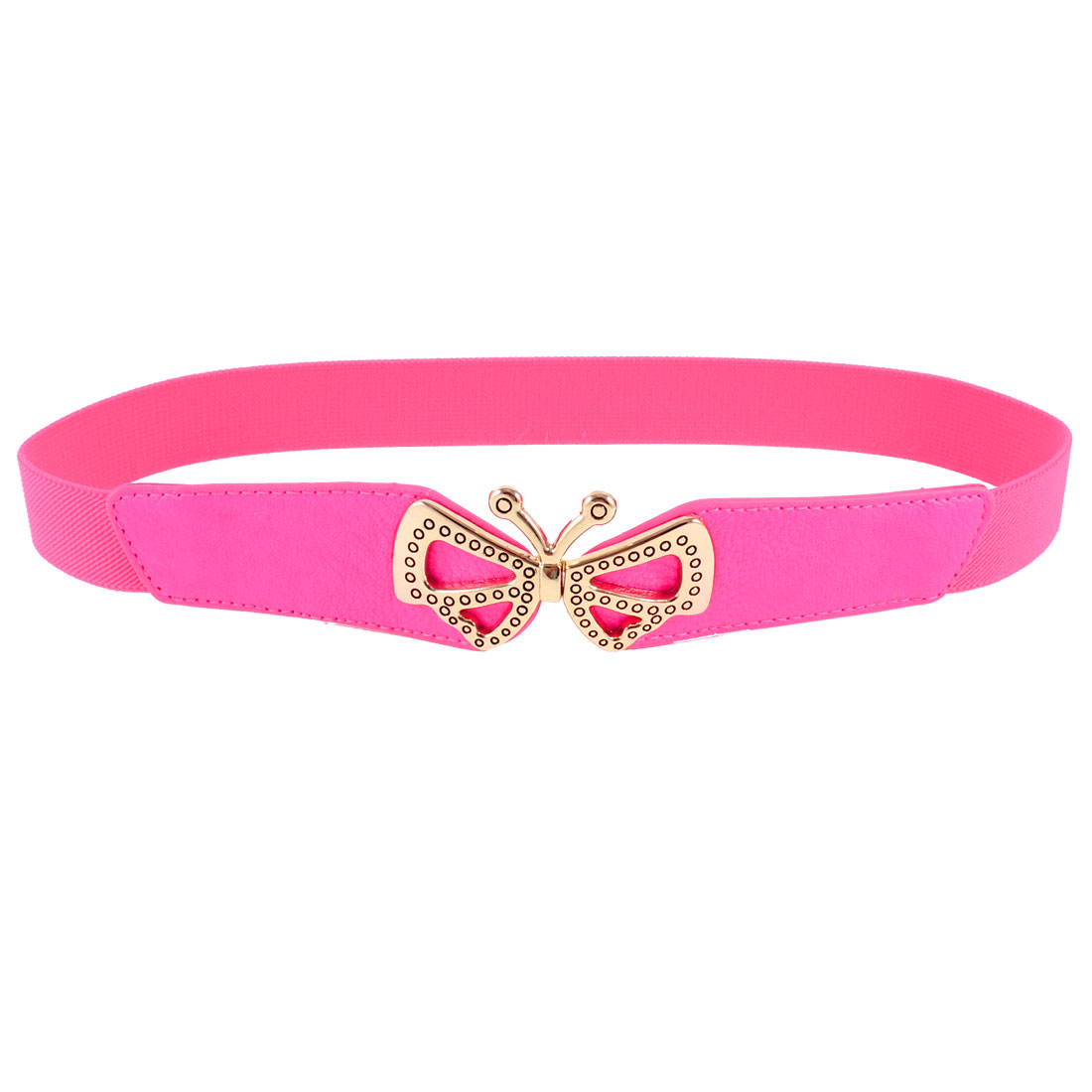 Ladies Butterfly Shaped Metal Interlocking Buckle Stretchy Waist Belt Hot Pink