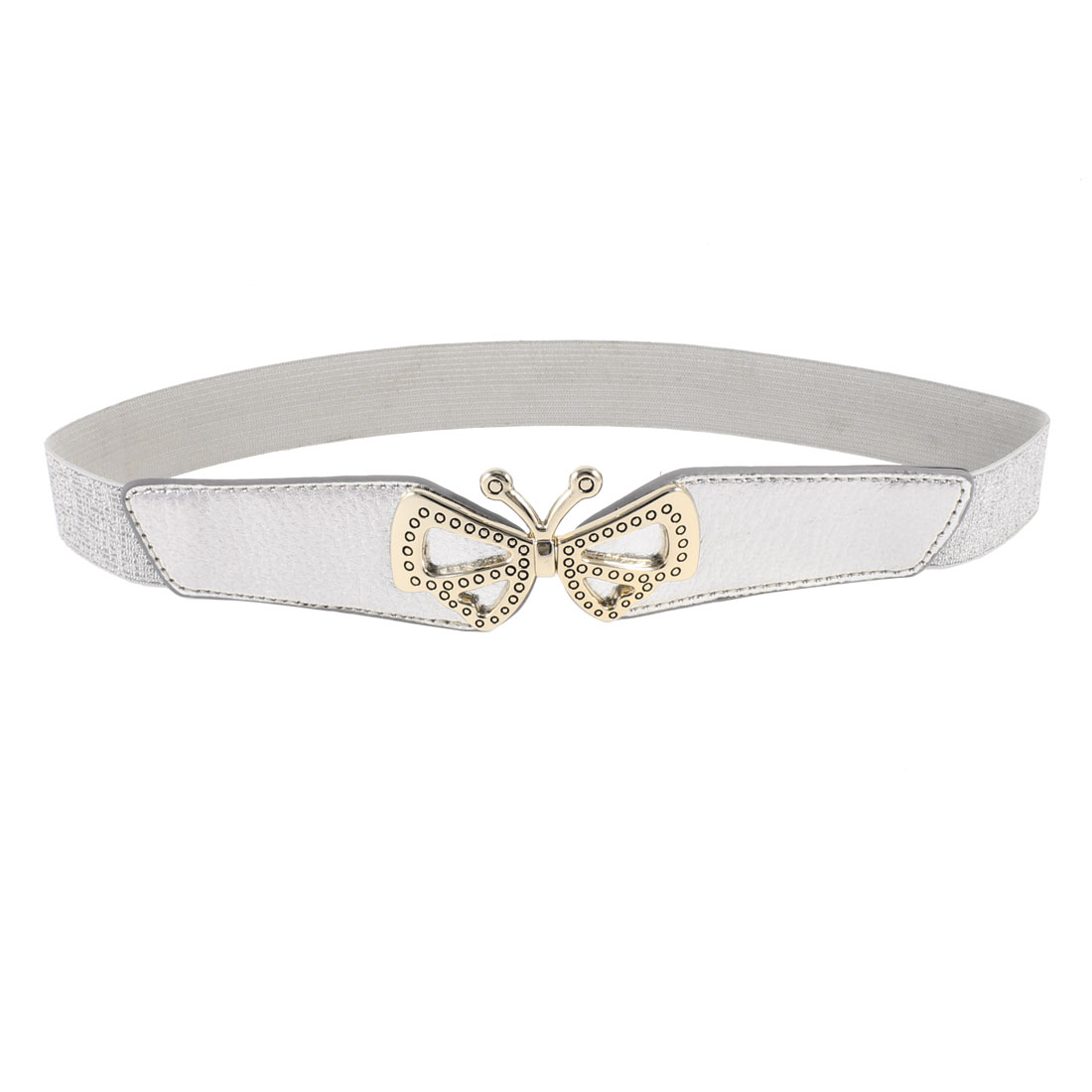 Woman Butterfly Shaped Metal Interlocking Buckle Stretchy Waist Belt Silver Tone