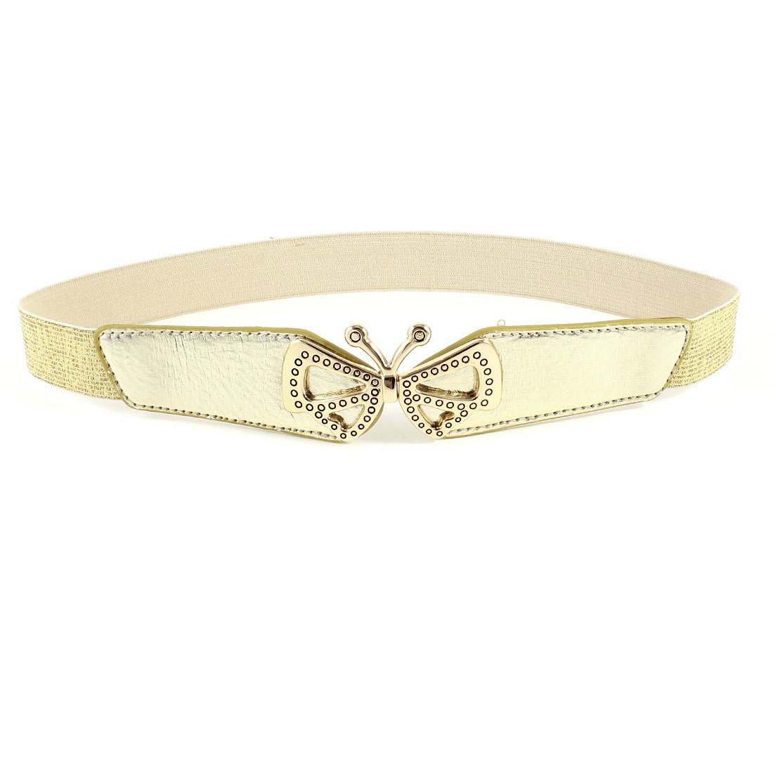 Ladies Butterfly Shaped Metal Interlocking Buckle Stretchy Waist Belt Gold Tone
