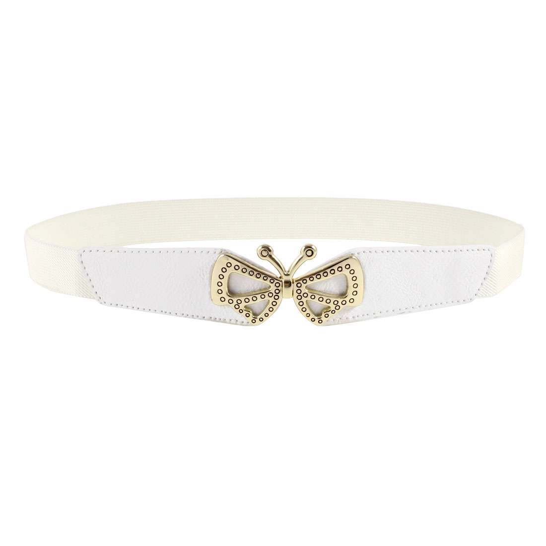 Ladies Butterfly Shaped Metal Interlocking Buckle Stretchy Waist Belt White