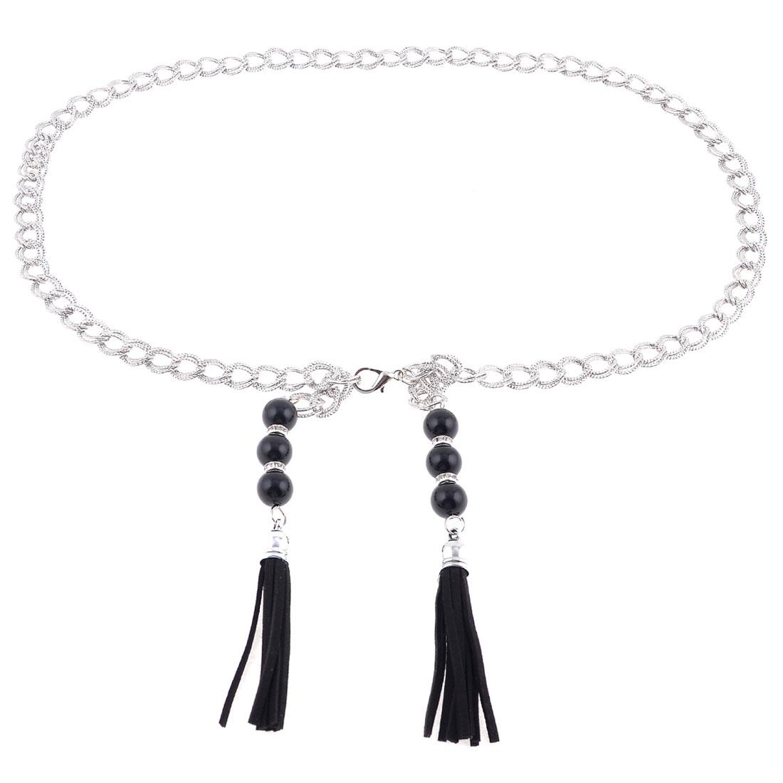Ladies Lobster Clasp Black Plastic Round Bead Decor Metal Waist Belt Waistband