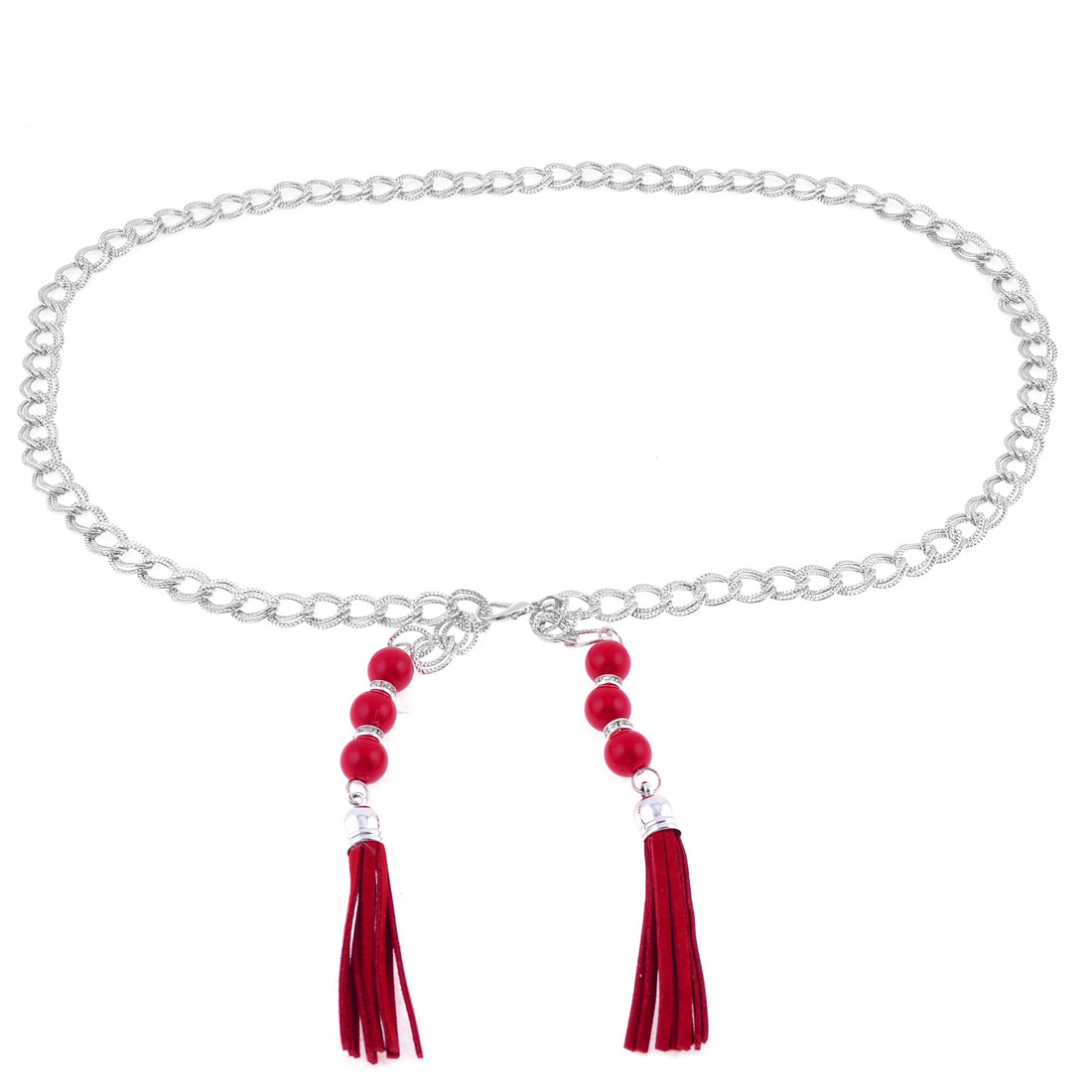 Women Red Plastic Round Beads Detail Lobster Clasp Adjustable Linked Chain Belt