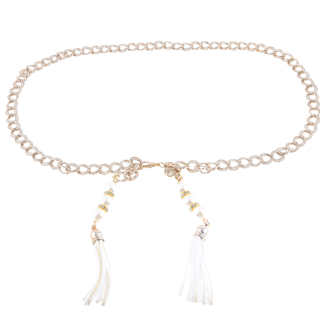 Woman Plastic White Round Bead Detail Lobster Clasp Adjustable Linked Chain Belt