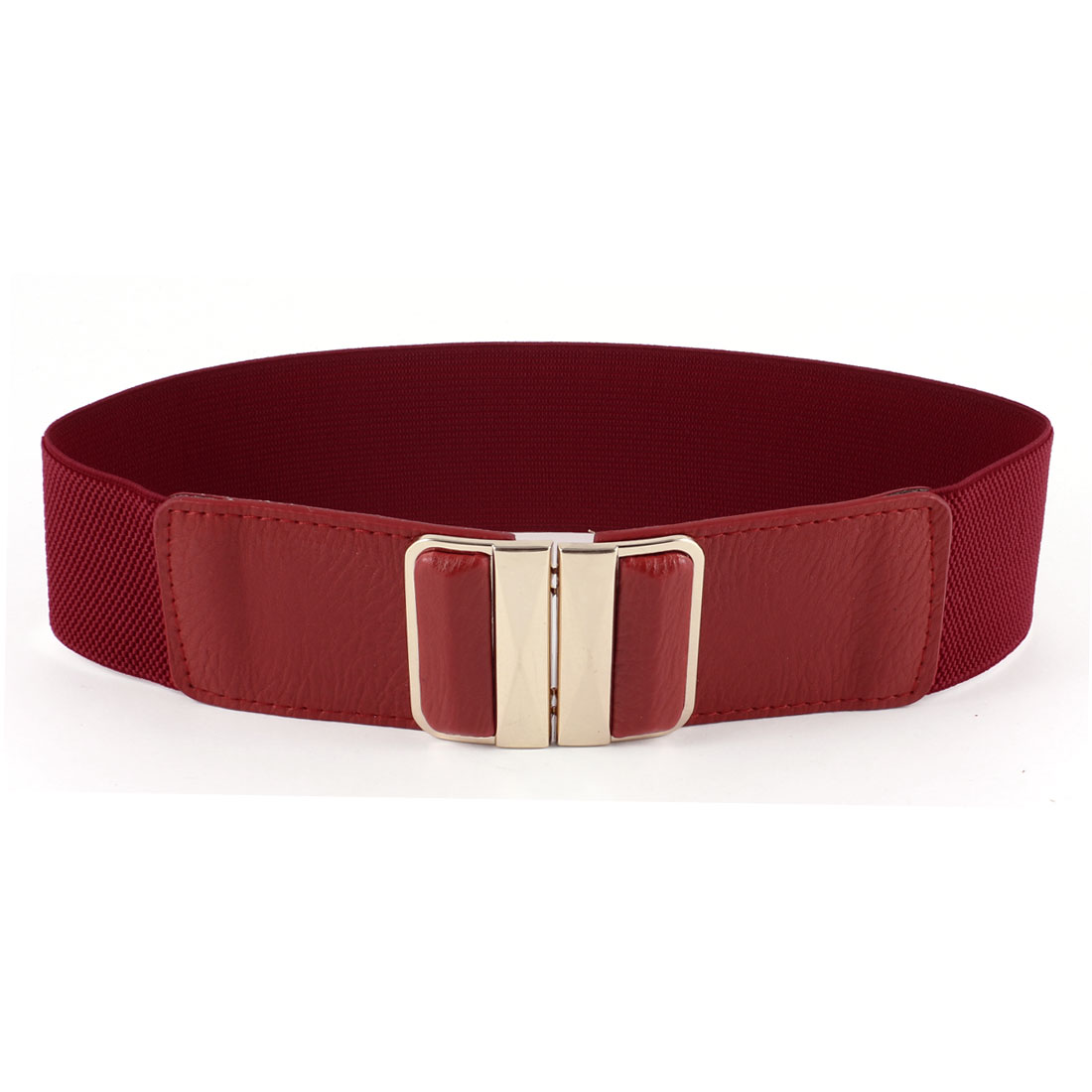 Ladies Red Gold Tone Faceted Rectangle Buckle Faux Leather Elastic Waist Belt