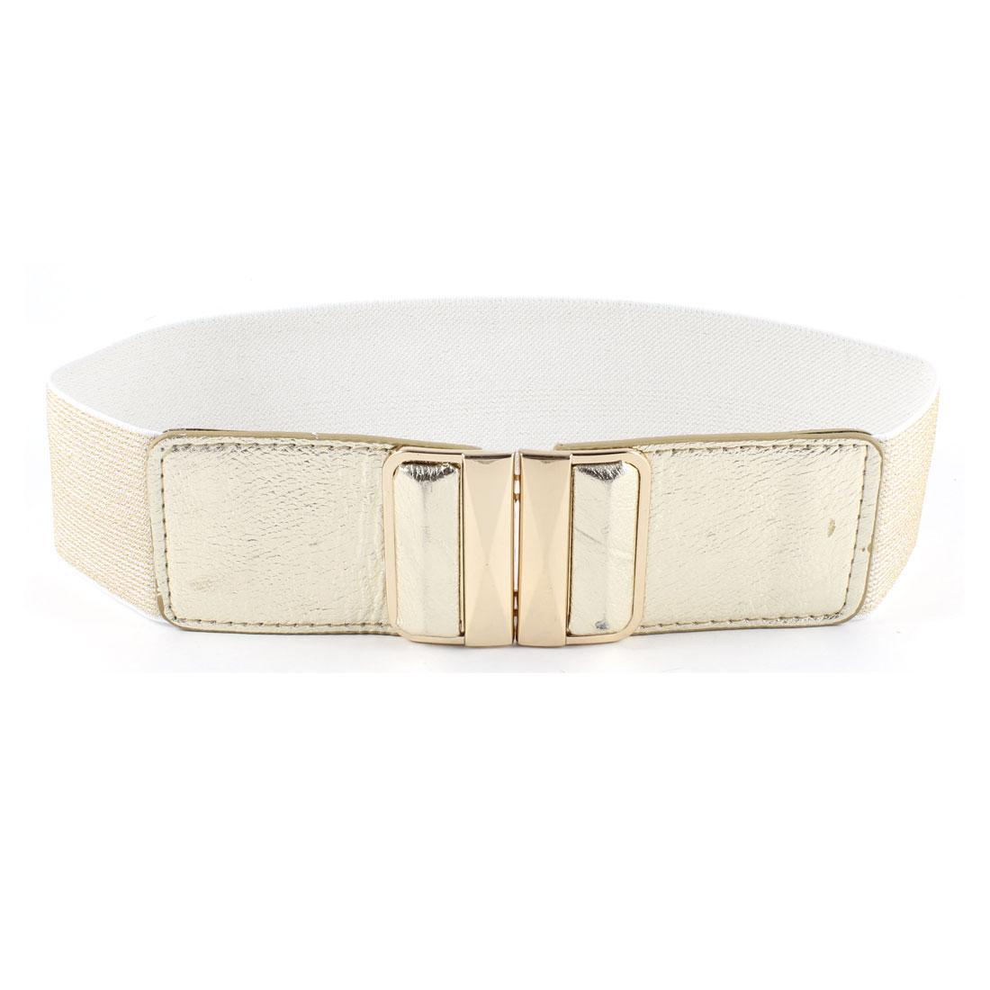 Women Faceted Rectangle Interlock Buckle Gold Tone Tinsel Waistband Cinch Waist Belt