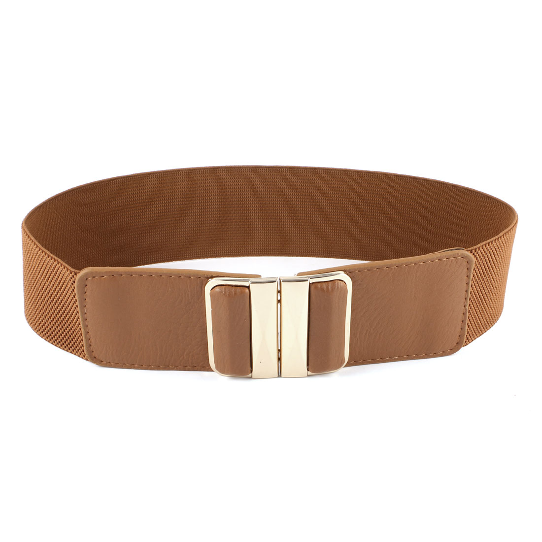 Ladies Faceted Rectangle Metal Interlocking Closure Waistband Cinch Belt Brown