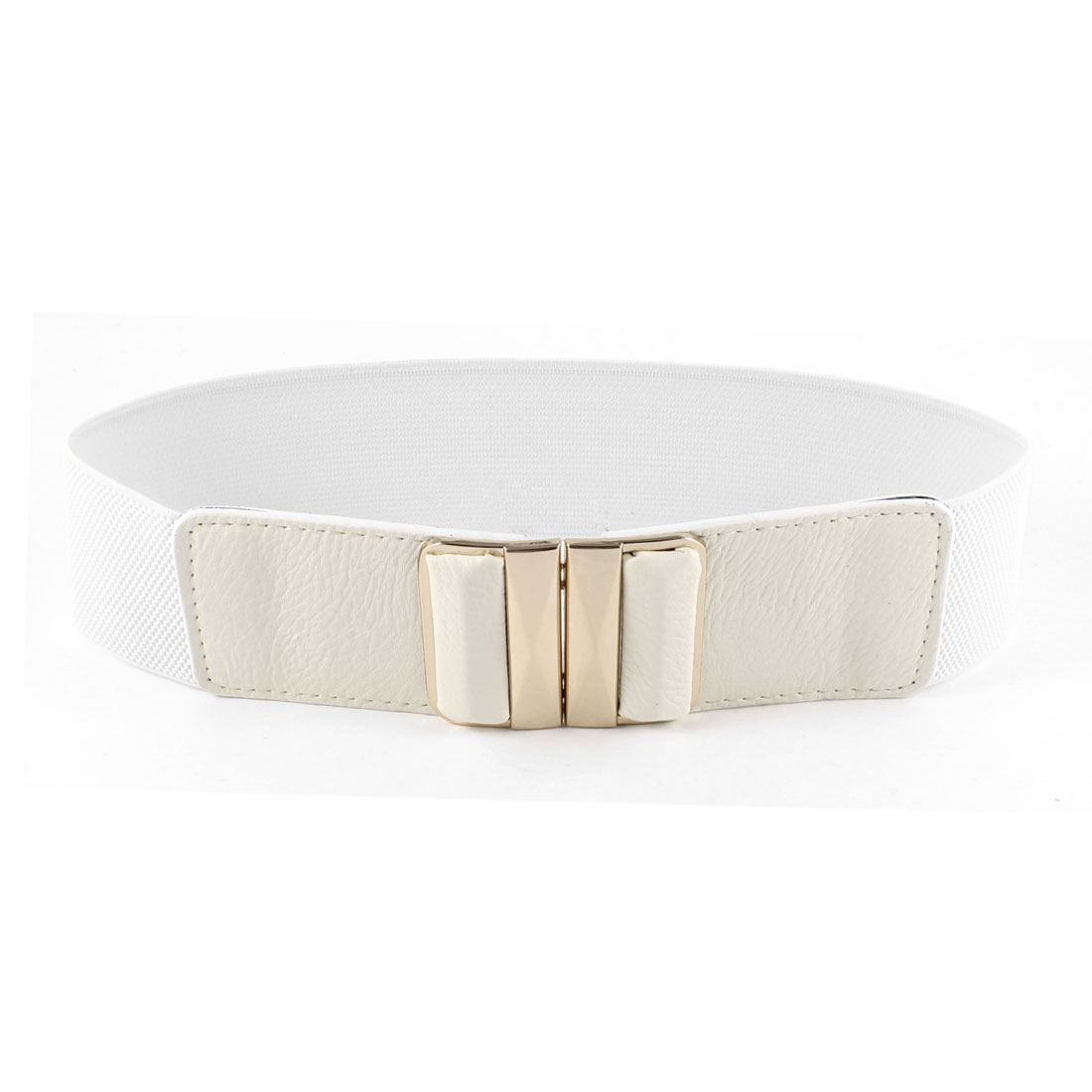 Women Faceted Rectangle Interlock Buckle White Stretchy Waistband Belt 6CM Width