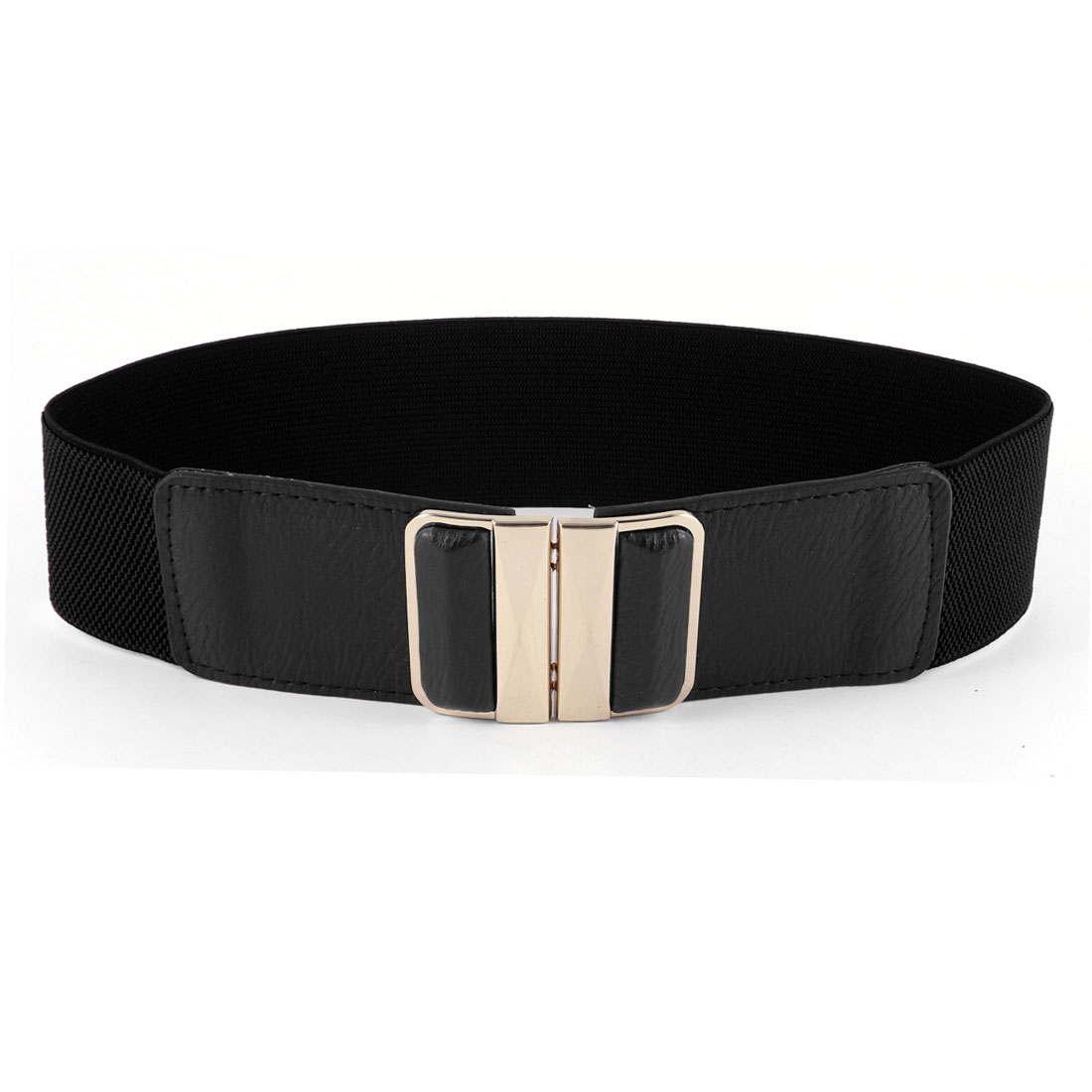 Lady Interlocking Buckle Black Faux Leather Textured Stretch Waist Belt 6CM Wide