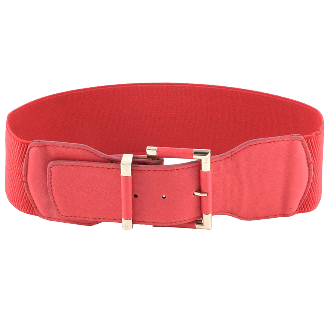 Women Single Prong Buckle Red Elastic Waist Band Belt Waistband Gift
