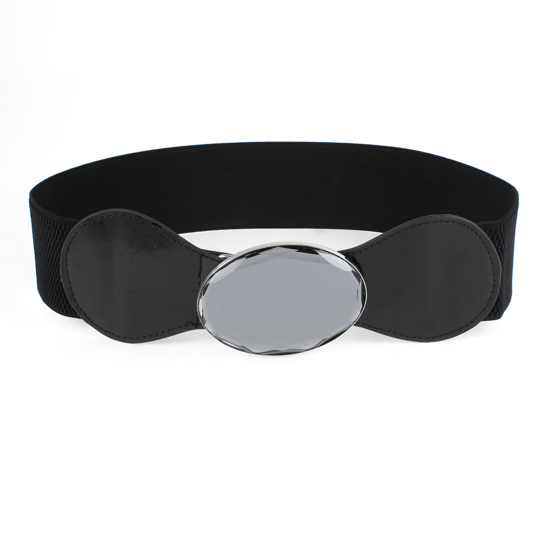 Women Reflective Faceted Oval Glass Press Buckle Elastic Waist Band Belt Black