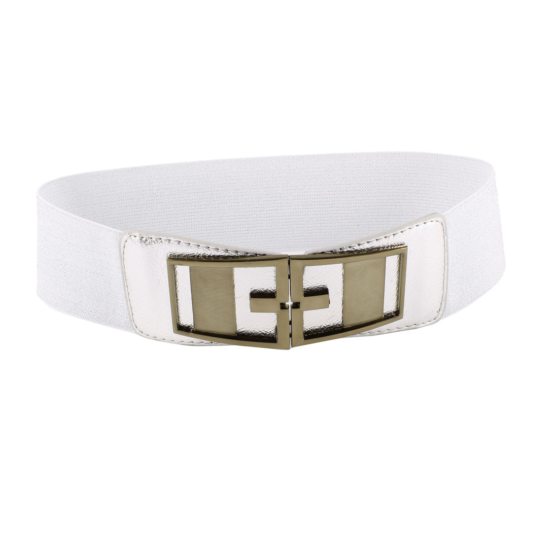 Symmetric Interlocking Buckle Elastic Cinch Waist Belt Silver Tone for Women