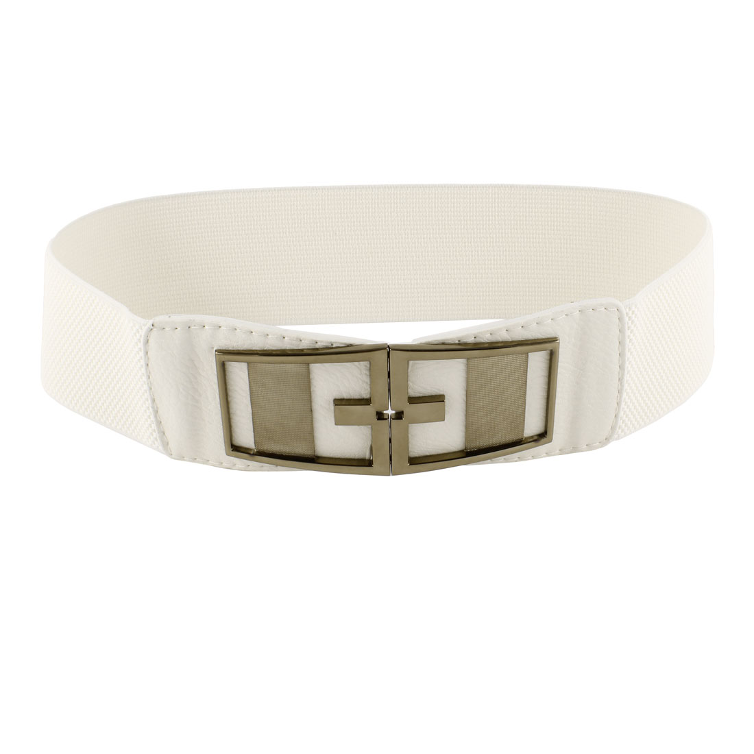 Symmetrical Interloack Bucle Textured Elastic Belt Off White for Ladies