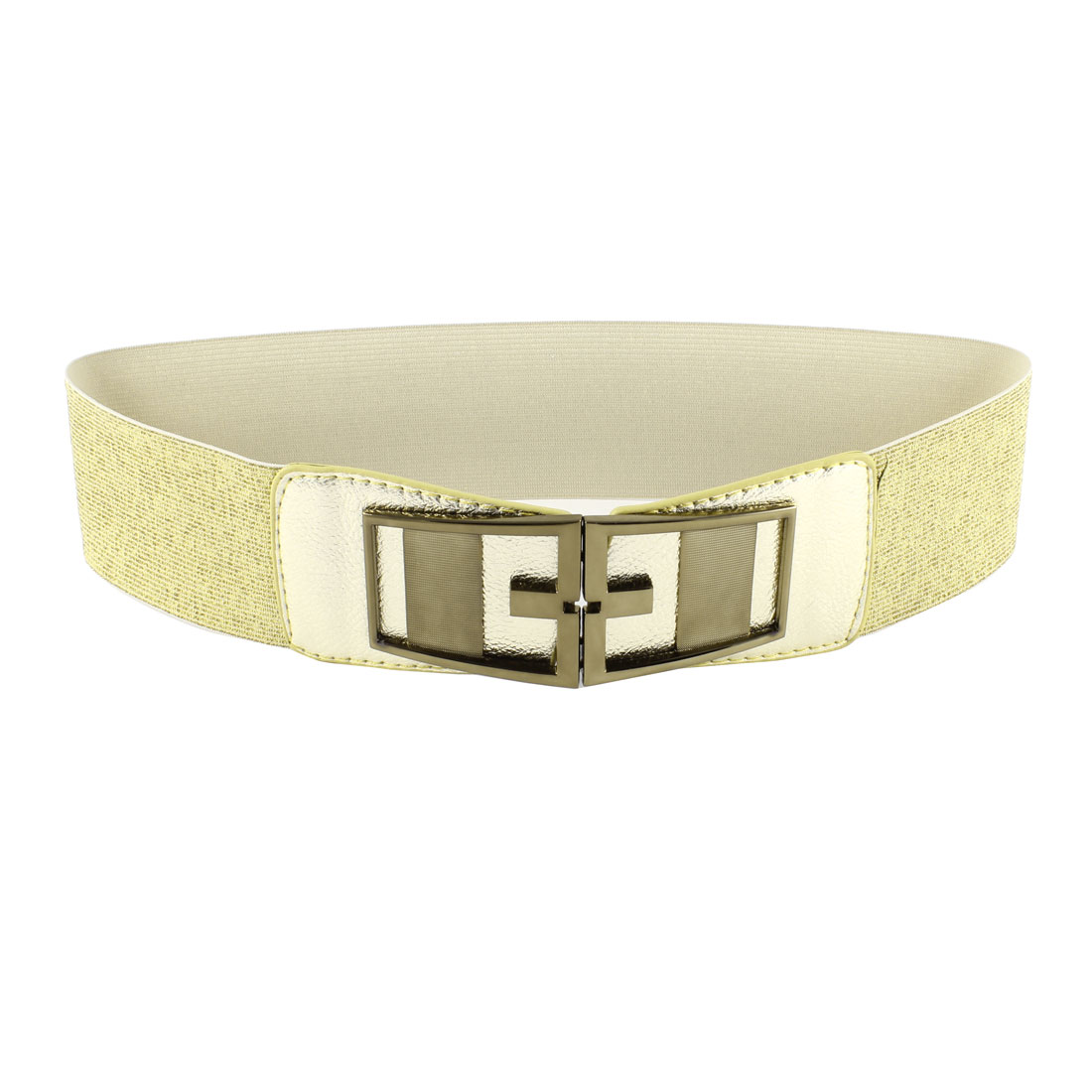 Symmetrical Interloack Bucle Textured Elastic Belt Gold Tone for Ladies