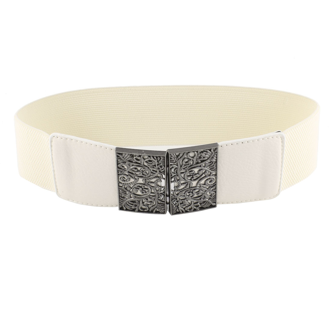 Off White Metal Flower Adorning Rectangle Textured Elastic Cinch Belt for Ladies