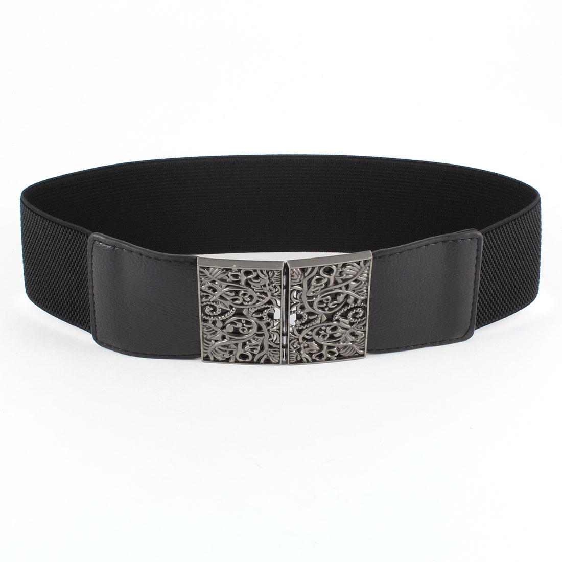 Black Metal Flower Adorning Rectangle Textured Elastic Cinch Belt for Ladies