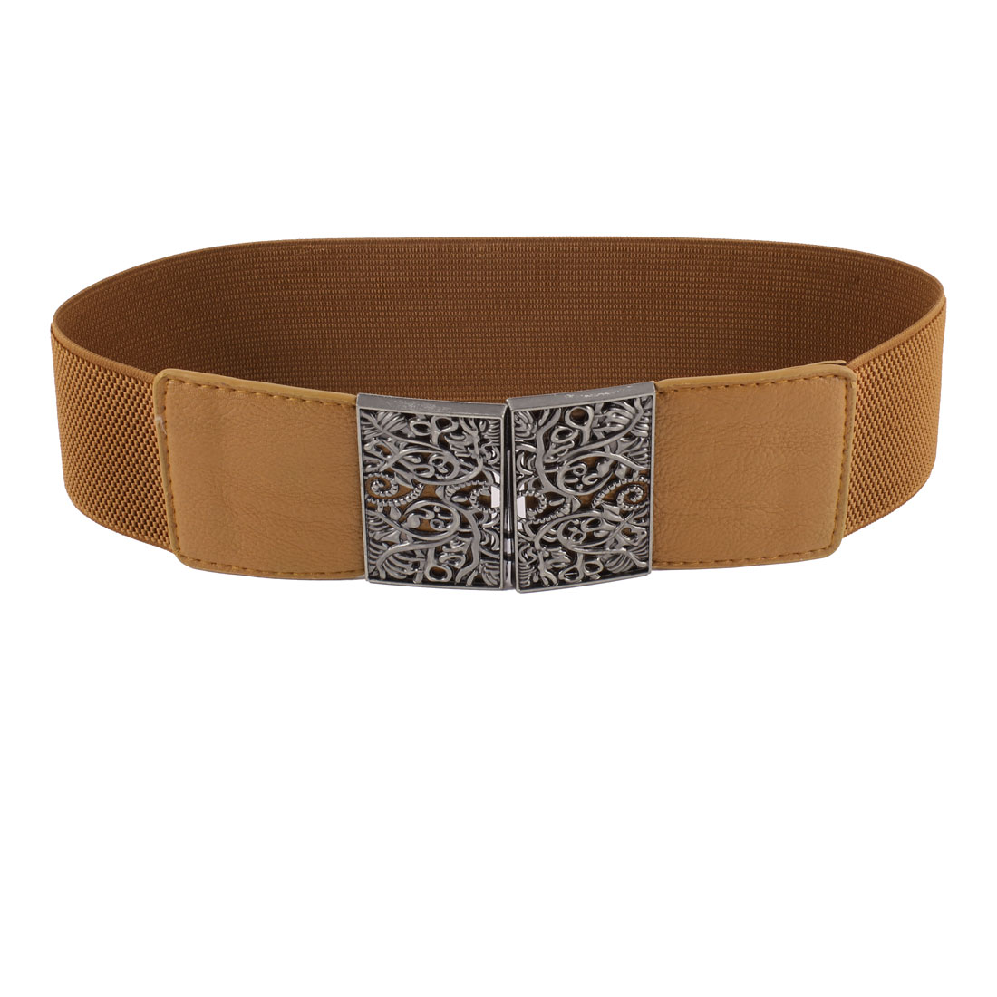 Brown Floral Accent Rectangle Faux Leather Stretchy Waist Belt for Women