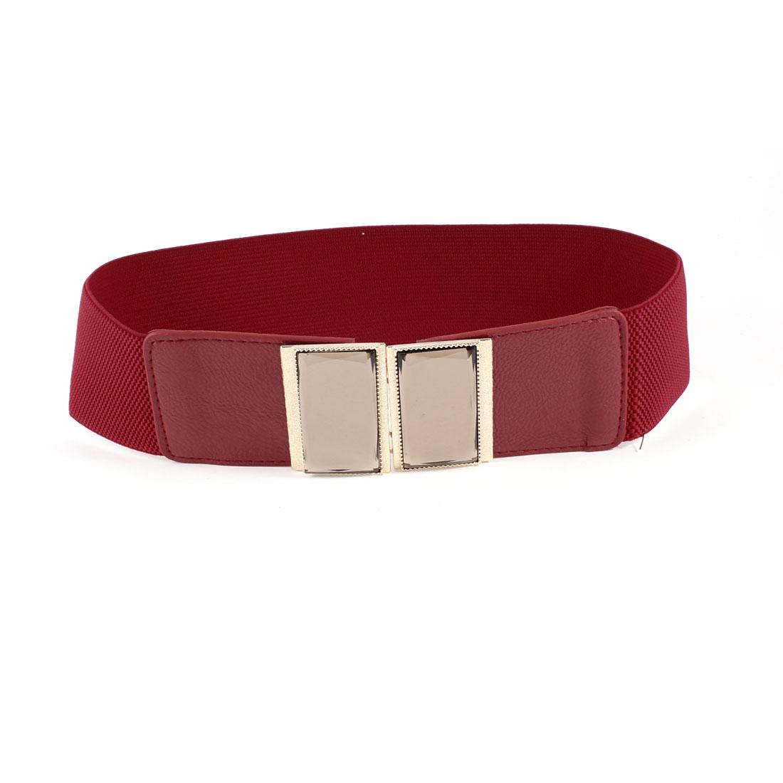 Women Plastic Crystal Accent Interlocking Buckle Stretchy Waist Belt Red