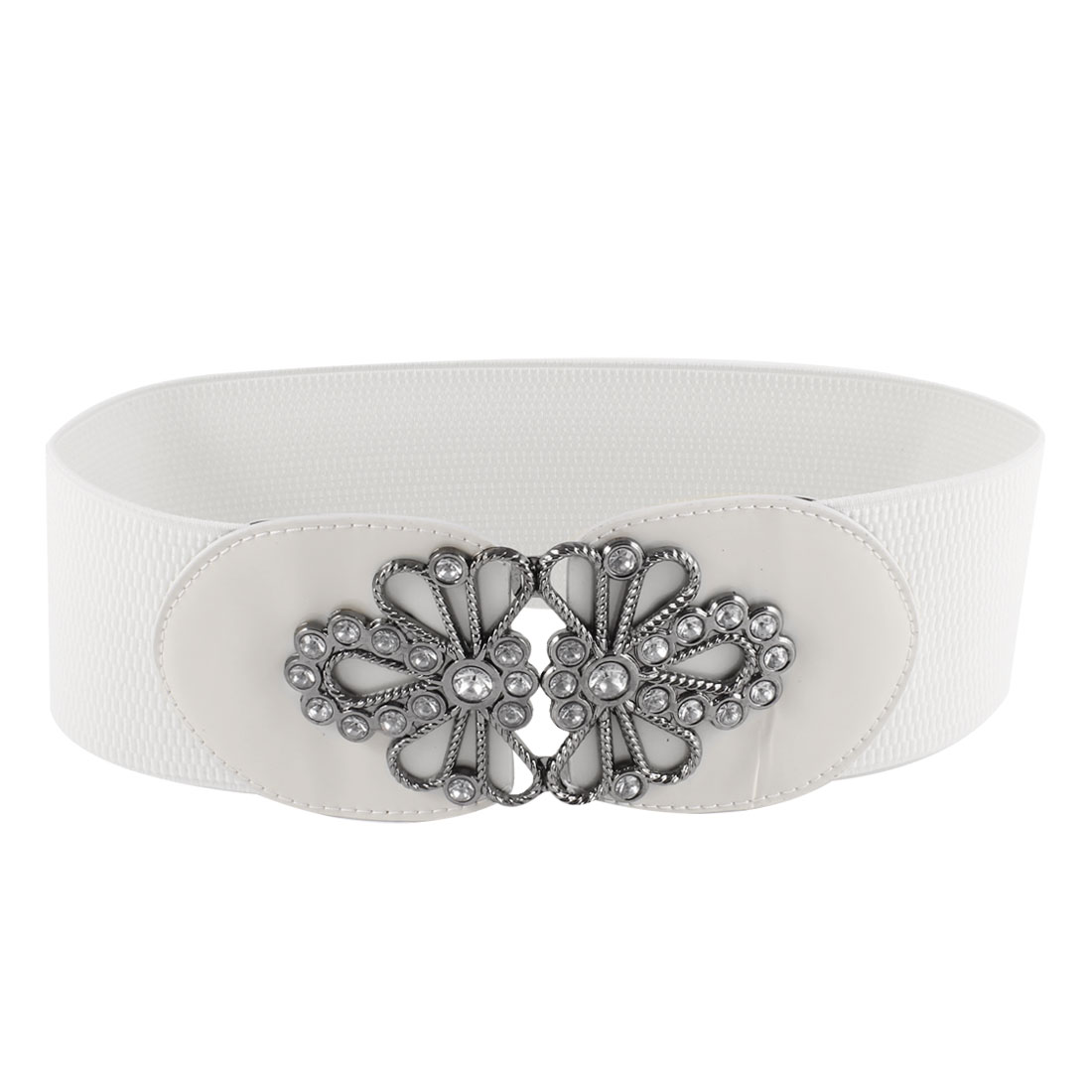 Off White Clear Rhinestone Detail Textured Elastic Cinch Belt for Women