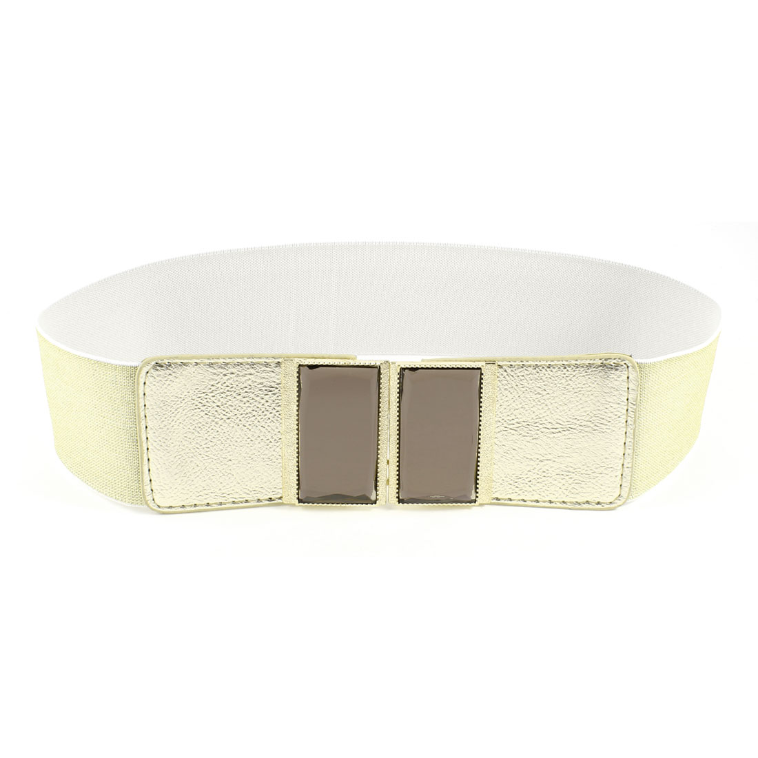 Women Plastic Crystal Accent Interlocking Buckle Stretchy Waist Belt Gold Tone