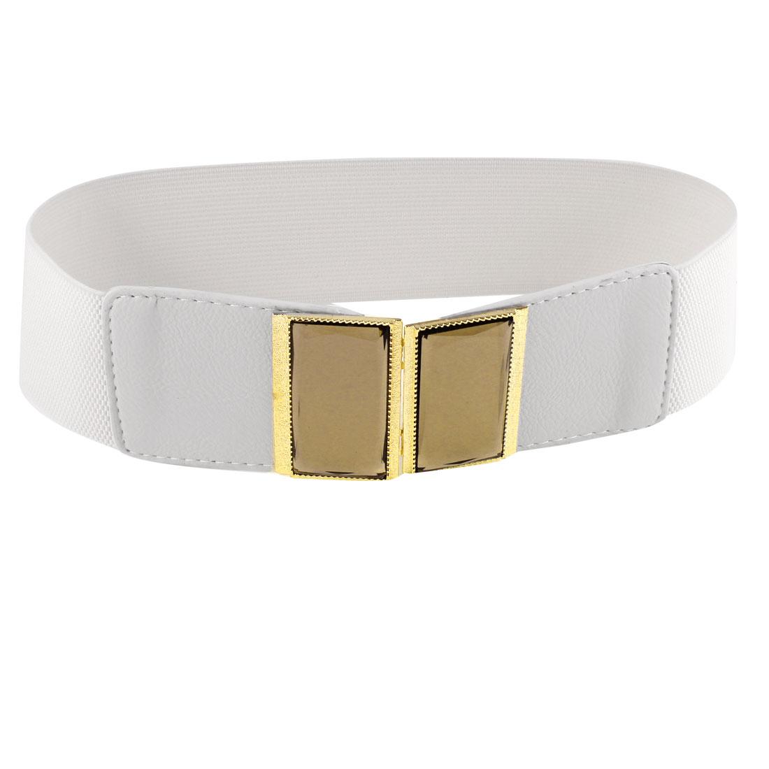 Women Plastic Crystal Accent Interlocking Buckle Stretchy Waist Belt White