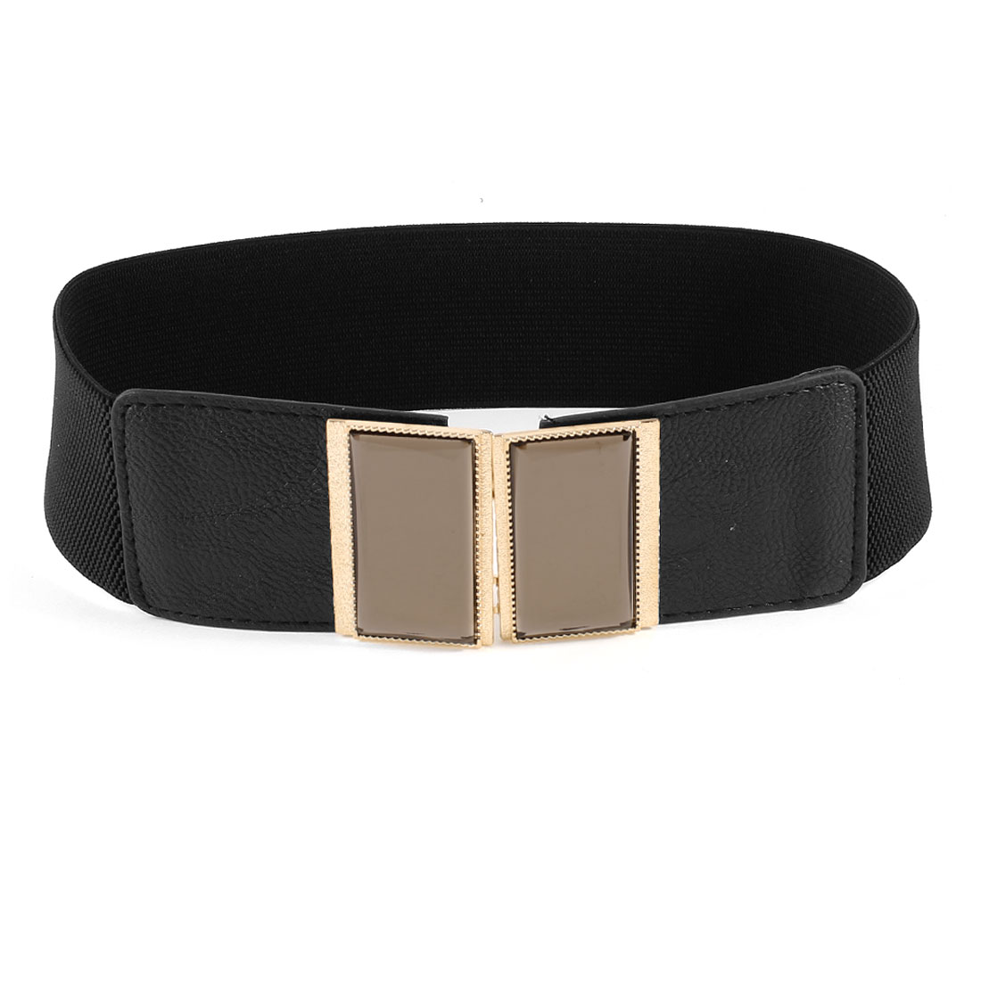 Women Plastic Crystal Accent Interlocking Buckle Stretchy Waist Belt Black