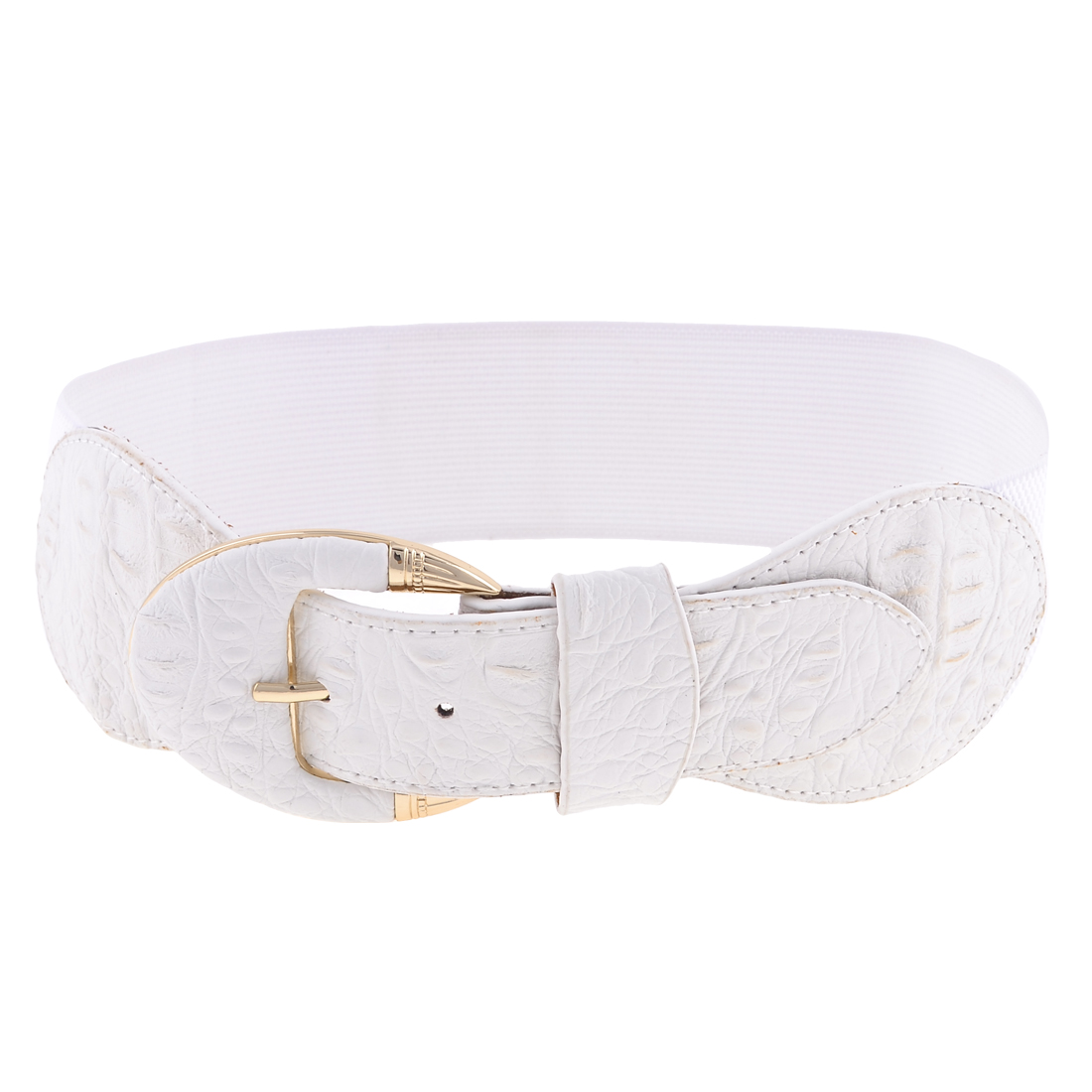 Lady Single Pin Buckle Faux Leather 6cm Wide Elastic Waist Cinch Belt White