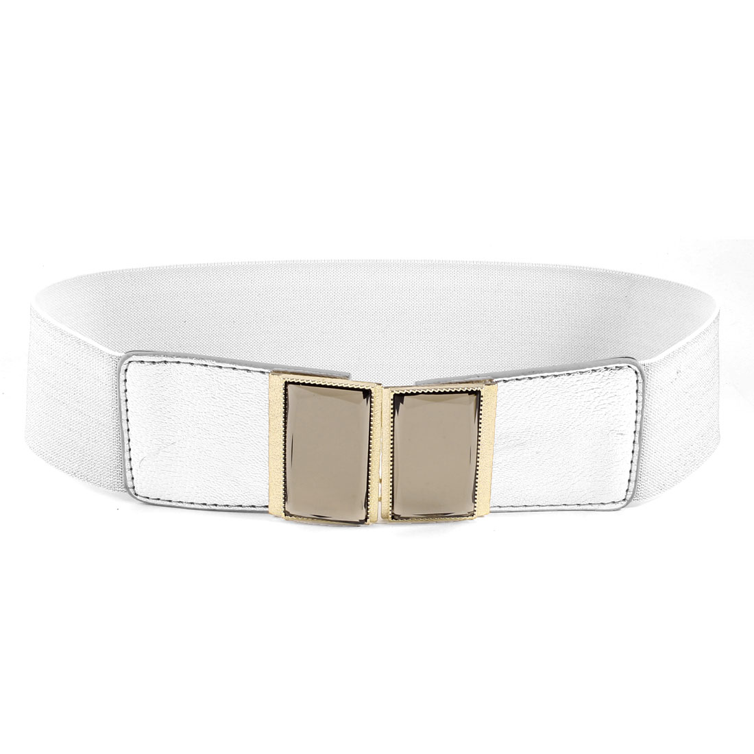 Women Plastic Crystal Accent Interlocking Buckle Stretchy Waist Belt Silver Tone
