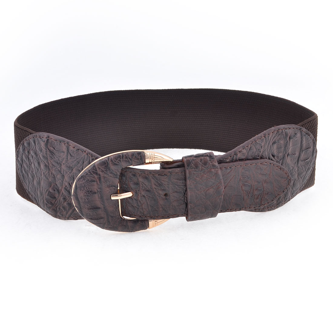 Lady Single Pin Buckle Faux Leather 6cm Wide Elastic Waist Cinch Belt Dark Brown