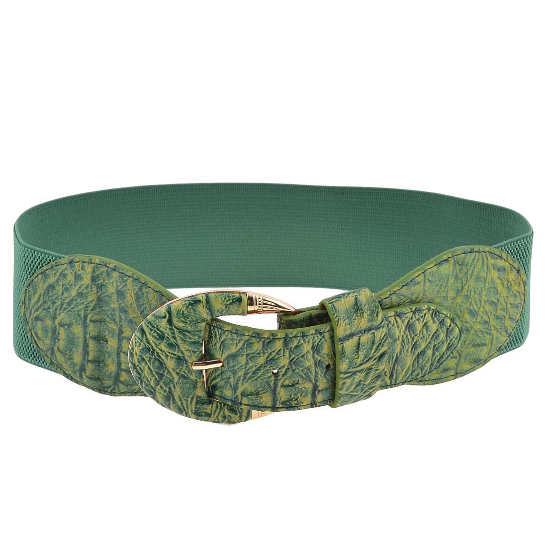 Lady Single Pin Buckle Faux Leather 6cm Wide Elastic Waist Cinch Belt Green