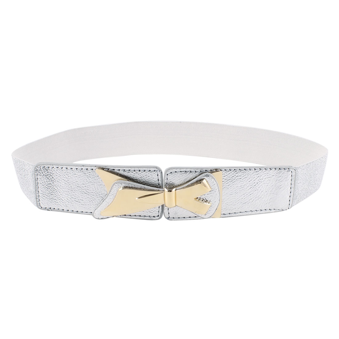 Silver Tone Bowknot Decor Faux Leather Interlock Buckle Stretchy Belt for Lady