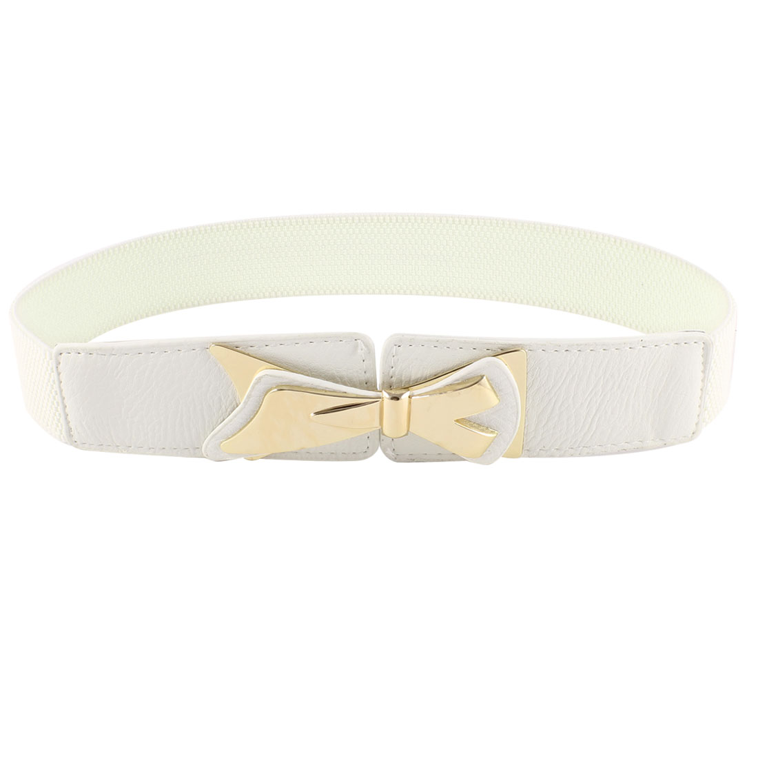 Off White Bowtie Decor Interlocking Buckle Elastic Cinch Belt for Ladies